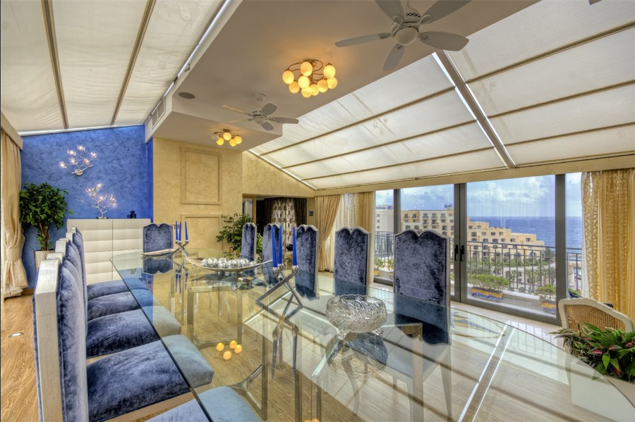Beautiful dining area of exclusive luxury penthouse in Protomaso.