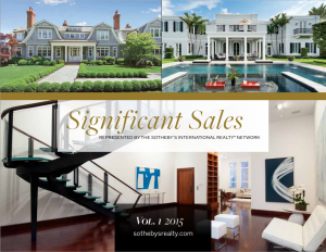 Sotheby's International Realty Significant Sales Vol.1