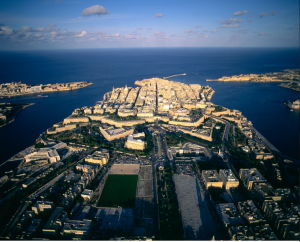 Aerial view of the capital city of Valletta, Malta.
