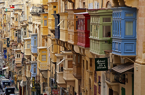 Valletta colourful balconies