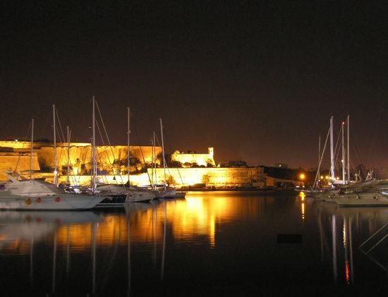 Ta' Xbiex Marina by night, Malta.
