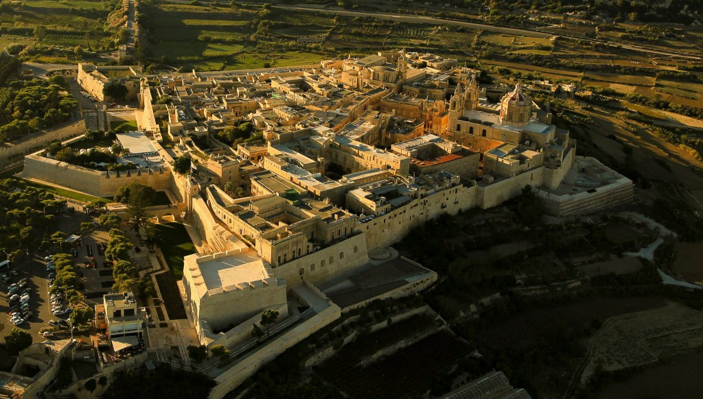 Aerial view of Mdina.