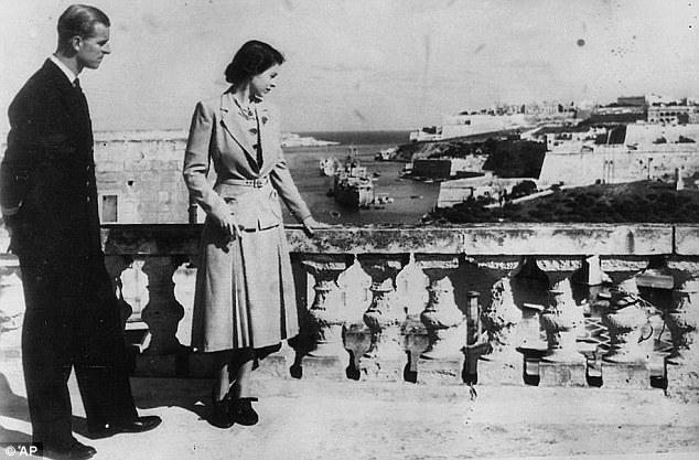 Elizabeth and Philip on the roof of Villa Guardamangia in Malta.