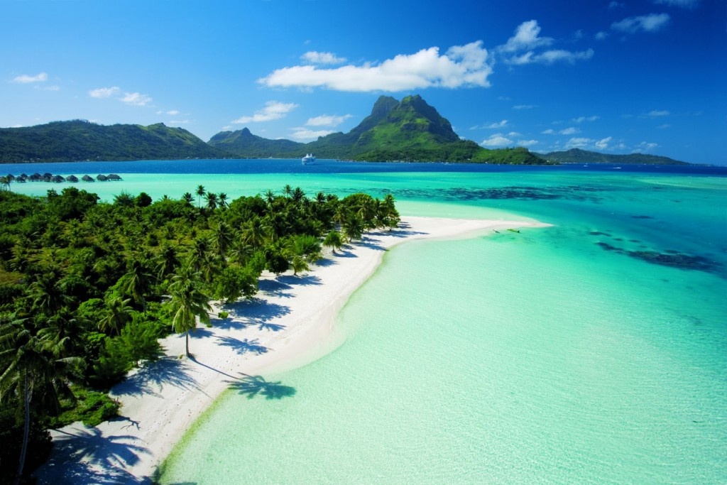 Sun, sand, sea and sky view at Bora bora Island