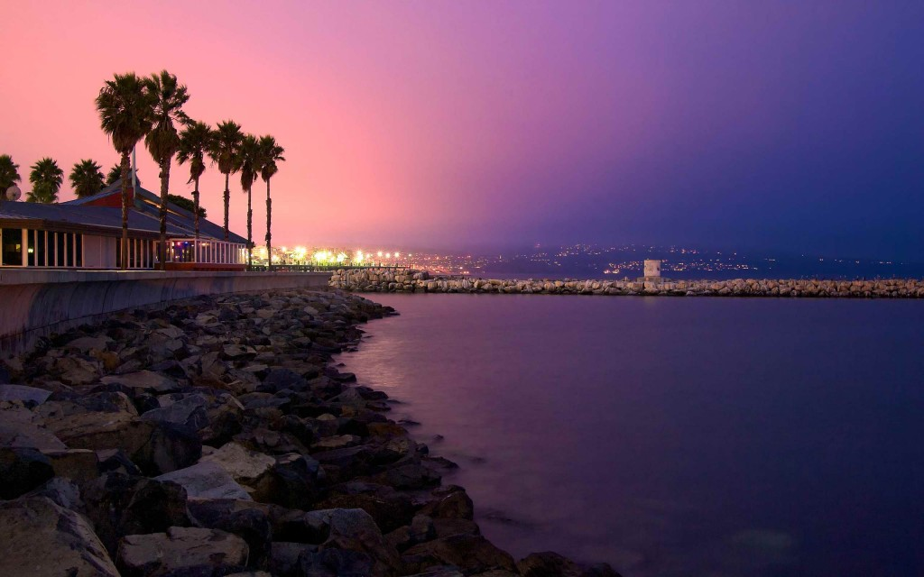 Peaceful Redondo Beach by night, in Los Angeles County, California, United States.
