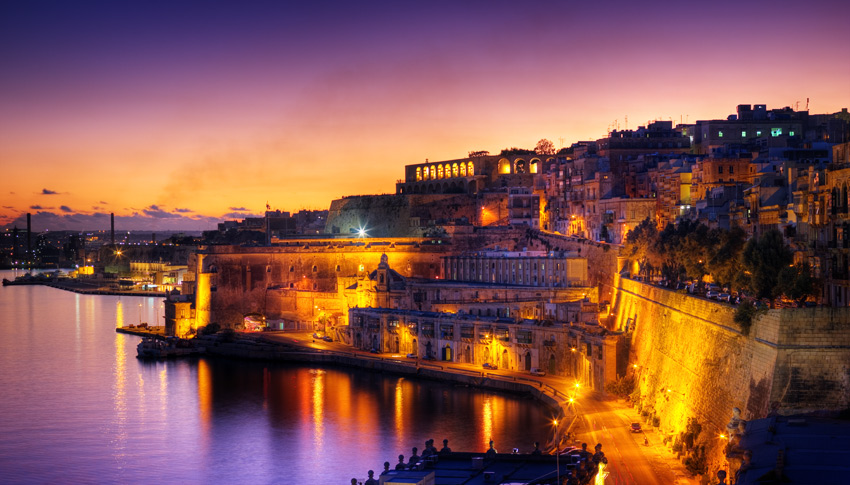 Colourful Valletta by night