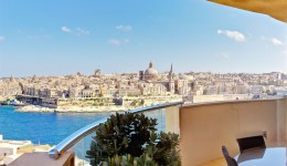 View of Valletta skyline from Tigne point apartment balcony in Sliema