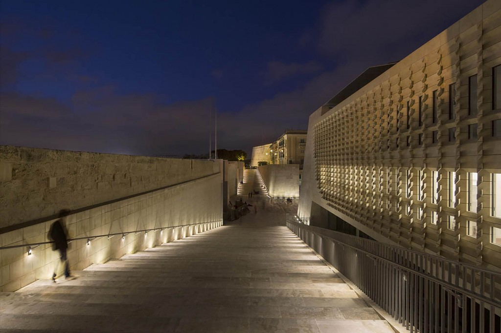 Valletta City Gate by night