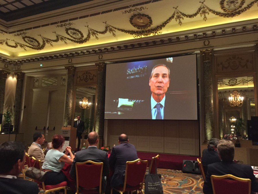 David White addresses the attendees via Skype at Emea Rome