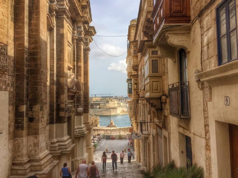 Valletta street view featuring baroque architecture